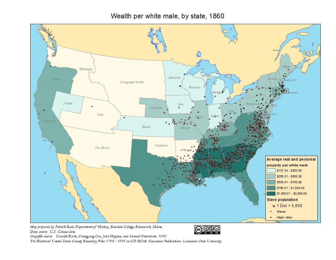Wealth Per White Male By State 1860